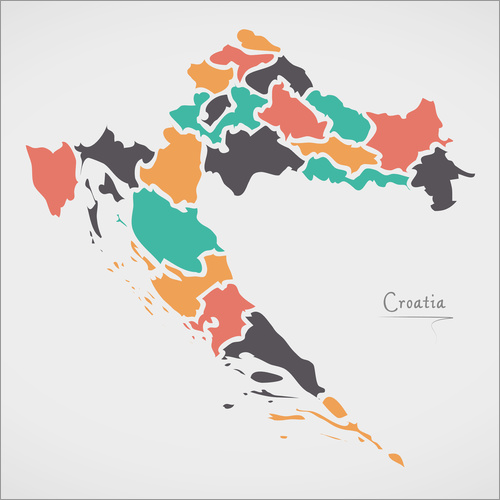 Autocolante decorativo Croatia map modern abstract with round shapes
