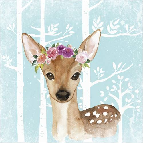 Autocolante decorativo Glamorous fawn with blossoms in the blue forest