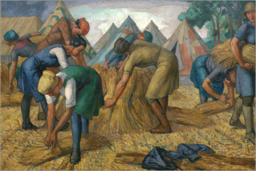 Póster Premium Farm workers in a flax field