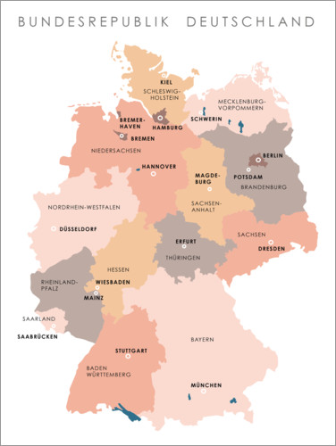 Póster Premium Federal states and capital cities of the federal republic of Germany