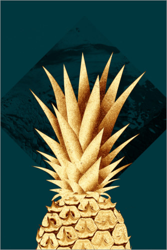 Póster Premium Pineapple on a green background