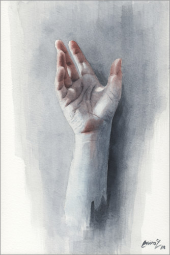 Póster Premium Study of a hand