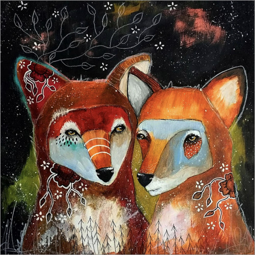Póster Premium Foxes - Home is where you are