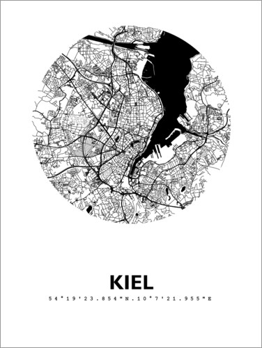 Póster Premium City map of Kiel