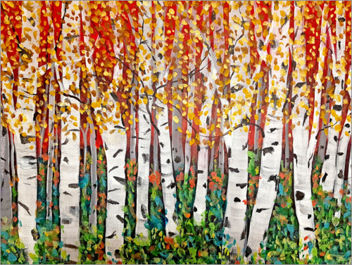 Póster Premium Red Sky Over Birch Trees