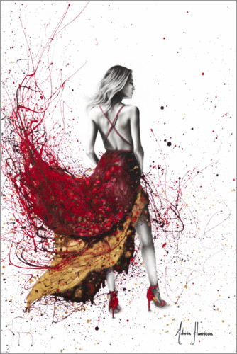 Póster Premium Woman in red