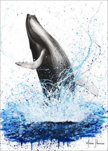 Póster Premium Whale breaks to the surface