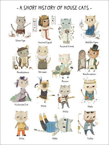 Póster Premium A short history of House Cats (inglês)