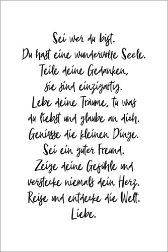 Póster Premium Be who you are (German)
