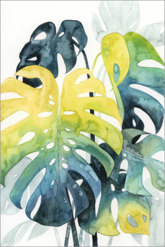 Póster Premium Palm leaves in the evening light I