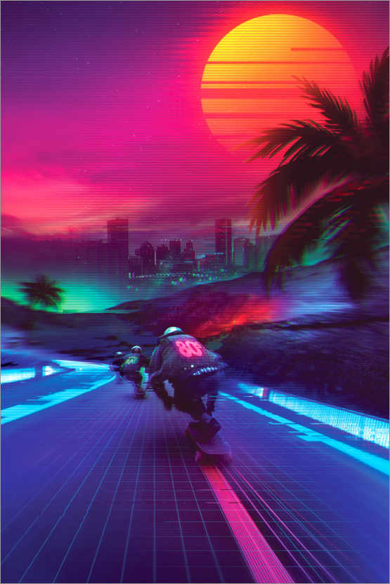 Póster Premium Synthwave Midnight Outrun