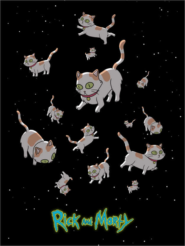 Póster Premium Rick and Morty - Space Cats