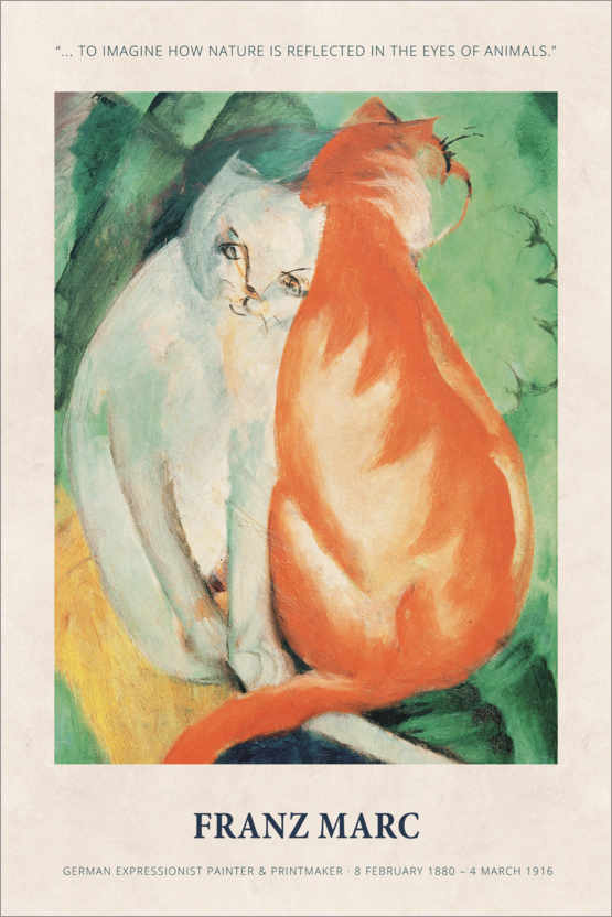 Póster Premium Franz Marc - In the eyes of animals