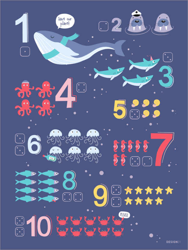 Póster Premium Counting numbers with marine animals