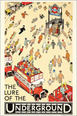 Póster Premium  The Lure of the underground - Alfred Leete