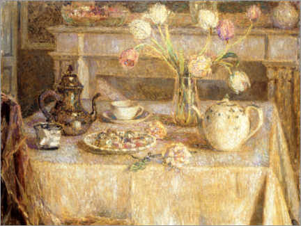 Póster Premium  The white tablecloth - Henri Le Sidaner