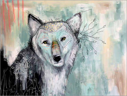 Póster Premium Abstract Wolf