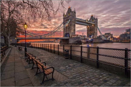 Póster Premium  Tower Bridge no brilho do sol - Dieter Meyrl