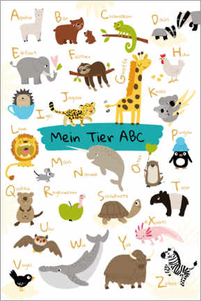 Póster Premium  My animal ABC - Julia Reyelt