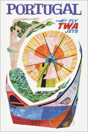 Póster Premium  Portugal, Fly Twa Jets - Travel Collection