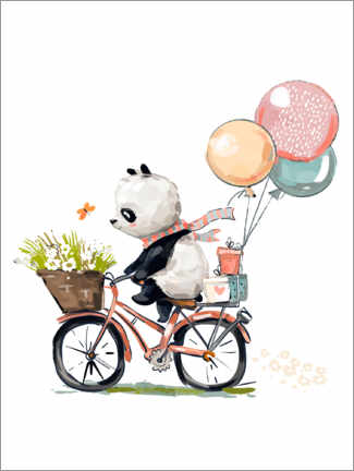 Póster Premium  Panda de bicicleta - Kidz Collection