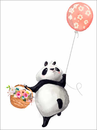 Póster Premium  Urso panda com balão - Kidz Collection