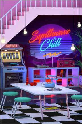 Póster Premium  Synthwave And Chill - Denny Busyet