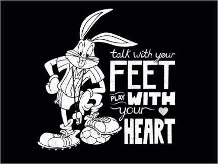 Póster Premium  Bugs Bunny - Soccer quote