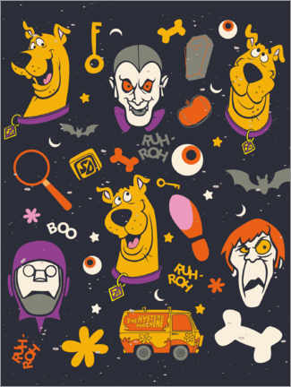 Póster Premium  Scooby Doo - monster faces