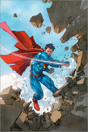 Póster Premium  Superman breaking walls