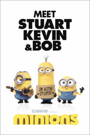 Póster Premium  Minions - I'm with stupid