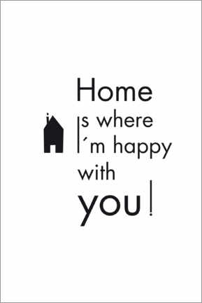 Quadro em acrílico  Home is where I'm happy with you! - Studio Nahili