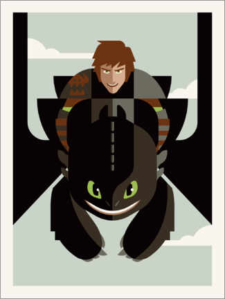 Póster Premium  How to Train Your Dragon - Minimal Design