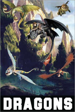 Póster Premium  DreamWorks Dragons excursion