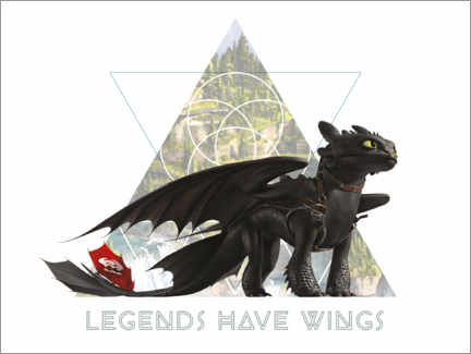 Póster Premium  Legends have wings - Toothless