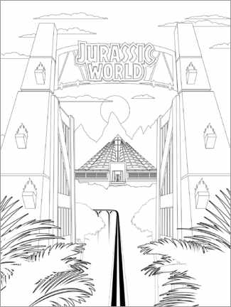 Póster para colorir  Jurassic World Gate