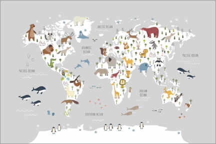 Quadro em tela  World map wih animals (grey) - Marta Munte