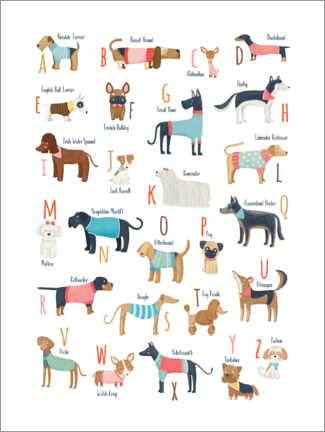 Póster Premium Dogs with clothes alphabet