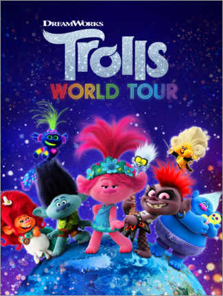 Póster Premium  Trolls World Tour - Around the globe