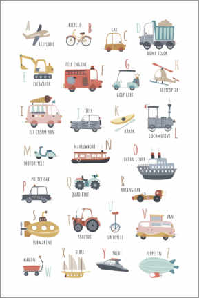 Póster Premium  My vehicles ABC (english) - Marta Munte