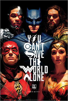 Póster Premium  Justice League - Can't save the world alone