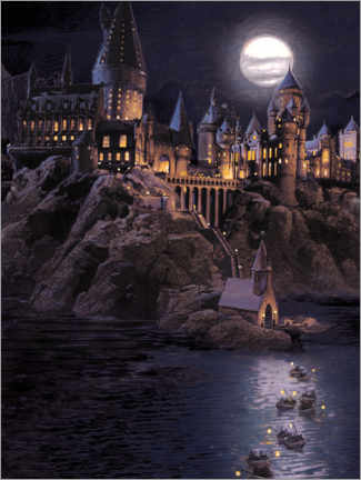 Póster Premium  Harry Potter - Boats to Hogwarts