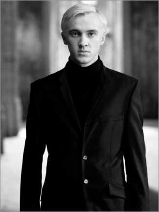 Quadro de madeira  The Half-Blood Prince - Draco Malfoy bw portrait