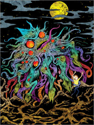 Póster Premium  Rick and Morty - Monster Moon