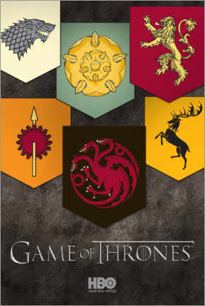 Póster Premium  Game of Thrones - Houses emblems
