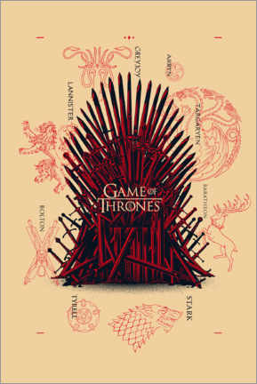 Póster Premium  GOT - throne and houses
