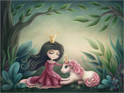 Póster Premium  Princess with unicorn in the magic forest - Elena Schweitzer