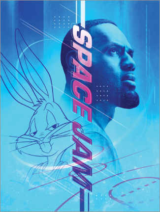 Póster Premium  Space Jam 2 - LeBron James and Bugs Bunny
