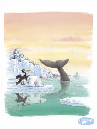 Póster Premium  The little polar bear Lars and the big whale
