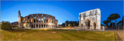 Póster Premium Colosseum and Arch of Constantine in Rome